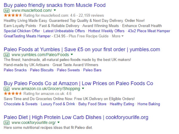 paleo search ads