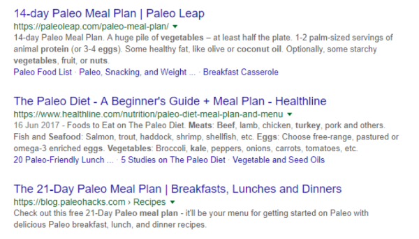paleo food search results