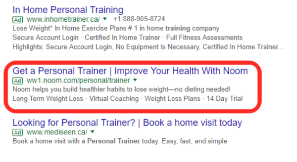 highlighted personal training ad