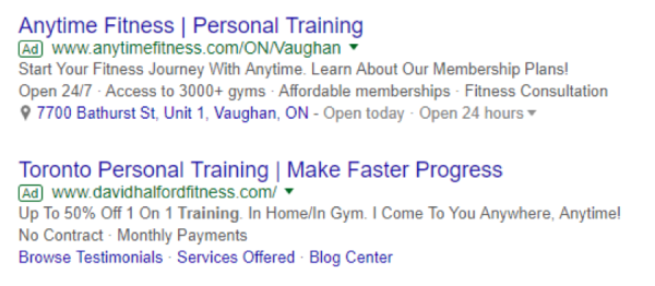 personal training search ads