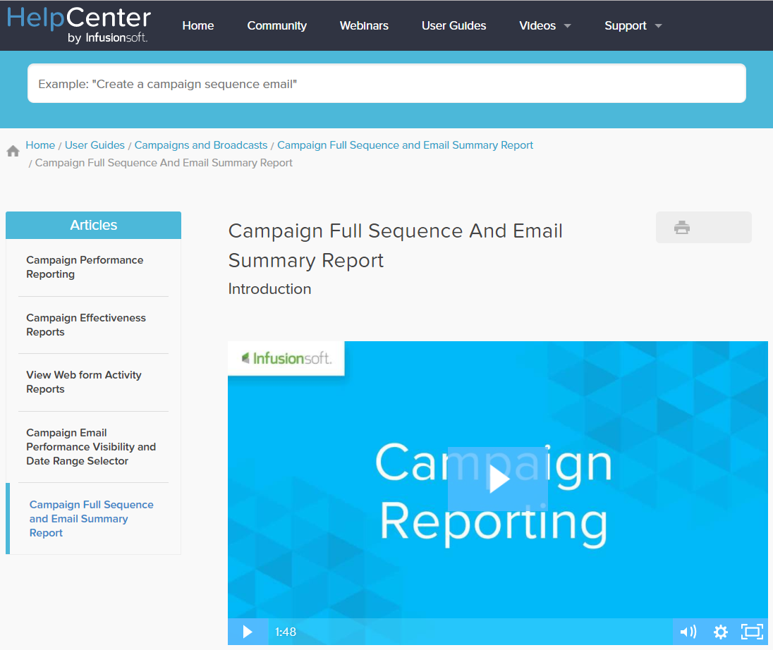 Infusionsoft help center campaign reporting how-to