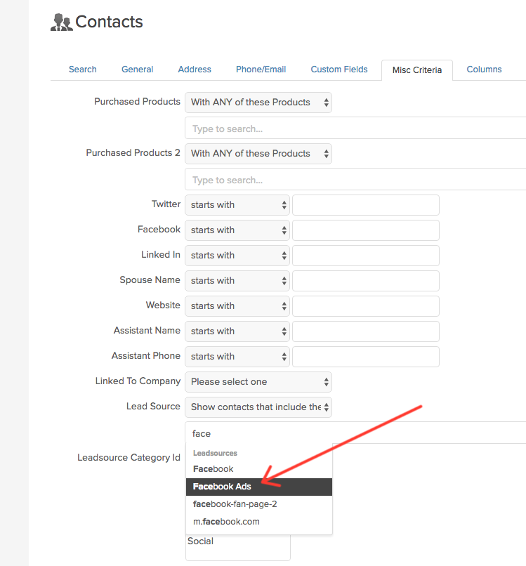 Infusionsoft contacts for Facebook ads