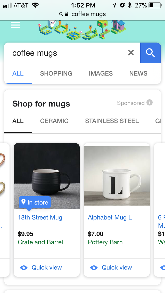 google shopping on mobile