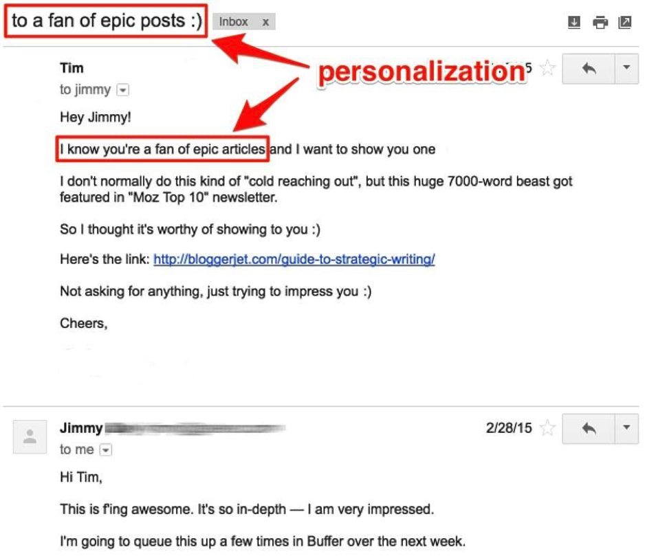 Personalized outreach email