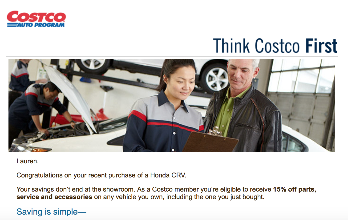 Costco email example