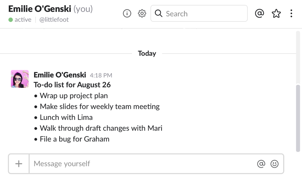 take notes in slack