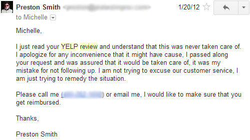 Preston Smith responding to yelp review