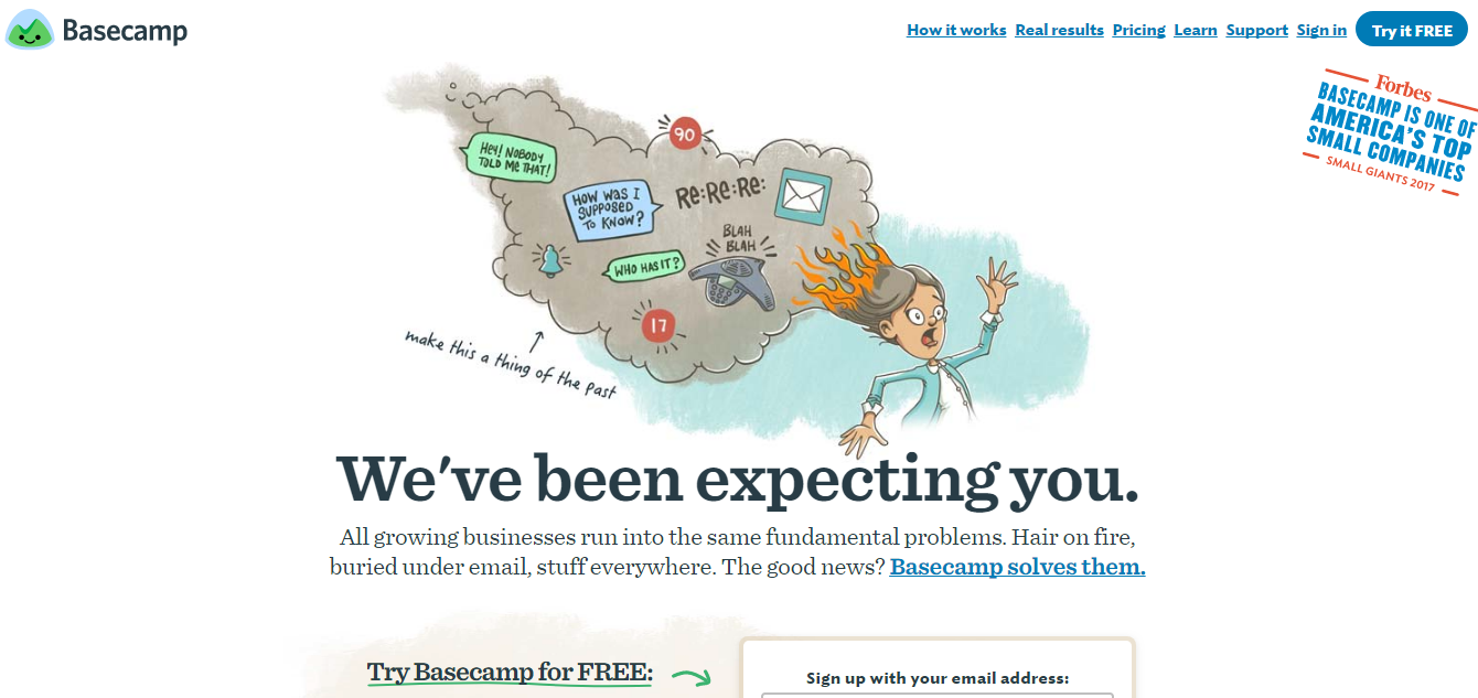 We've been expecting you basecamp landing page