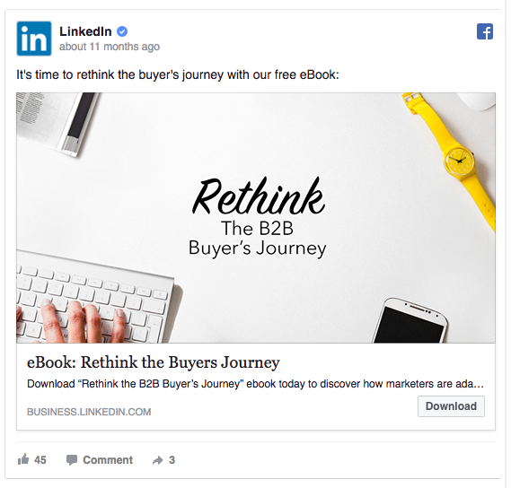 LinkedIn CTA on facebook