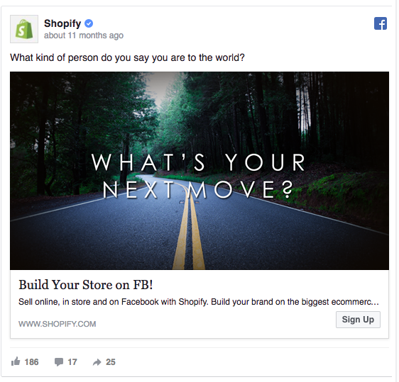 Shopify facebook ad