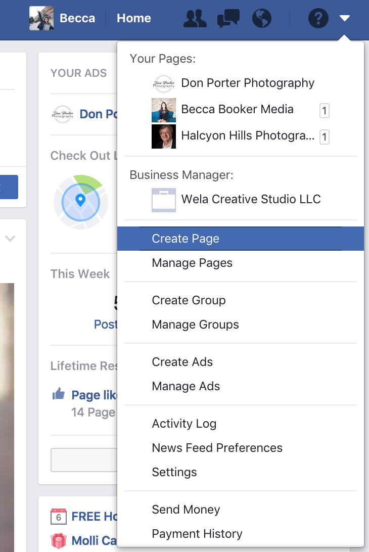 create a facebook page