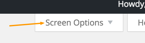 screen options in WordPress dashboard