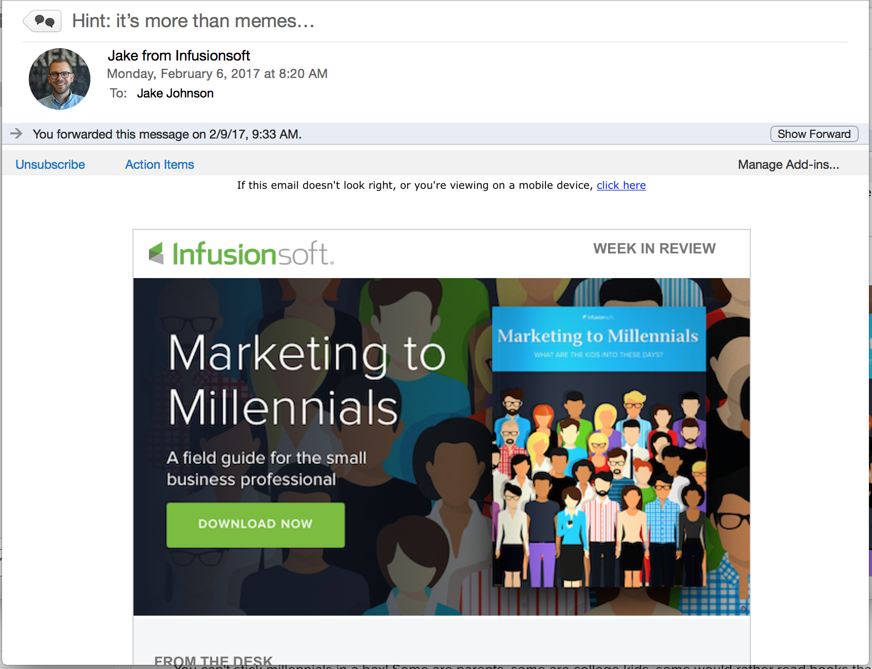 email example from infusionsoft